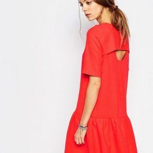 ASOS Drop Waist with Back Key-Hole Red Dress